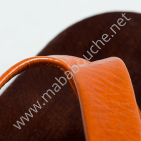 Tongs cuir hommes <br>saharienne orange (h008)